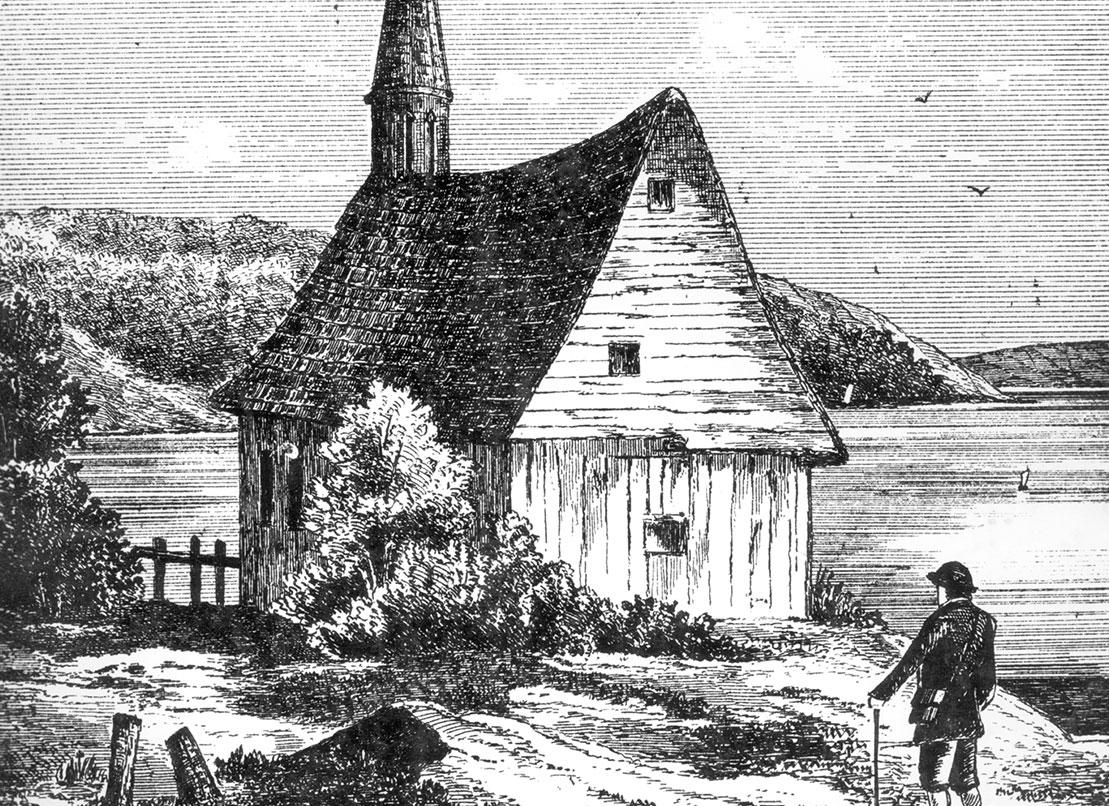 La chapelle de Chicoutimi, construite au Coteau du Portage