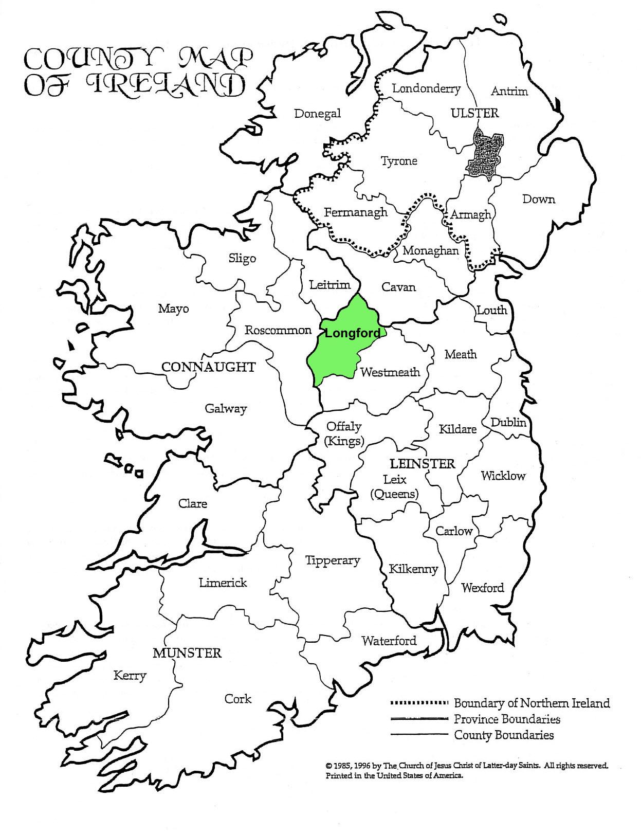 Le comté de Longford, au coeur de l'Irlande. Thomas Holland et Nancy Ann McLaughlin en sont originaires.