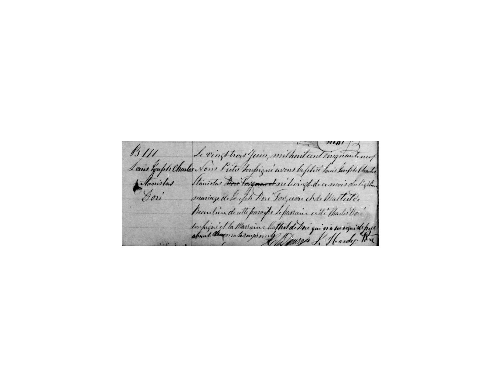 La première signature de Charles DAURAY