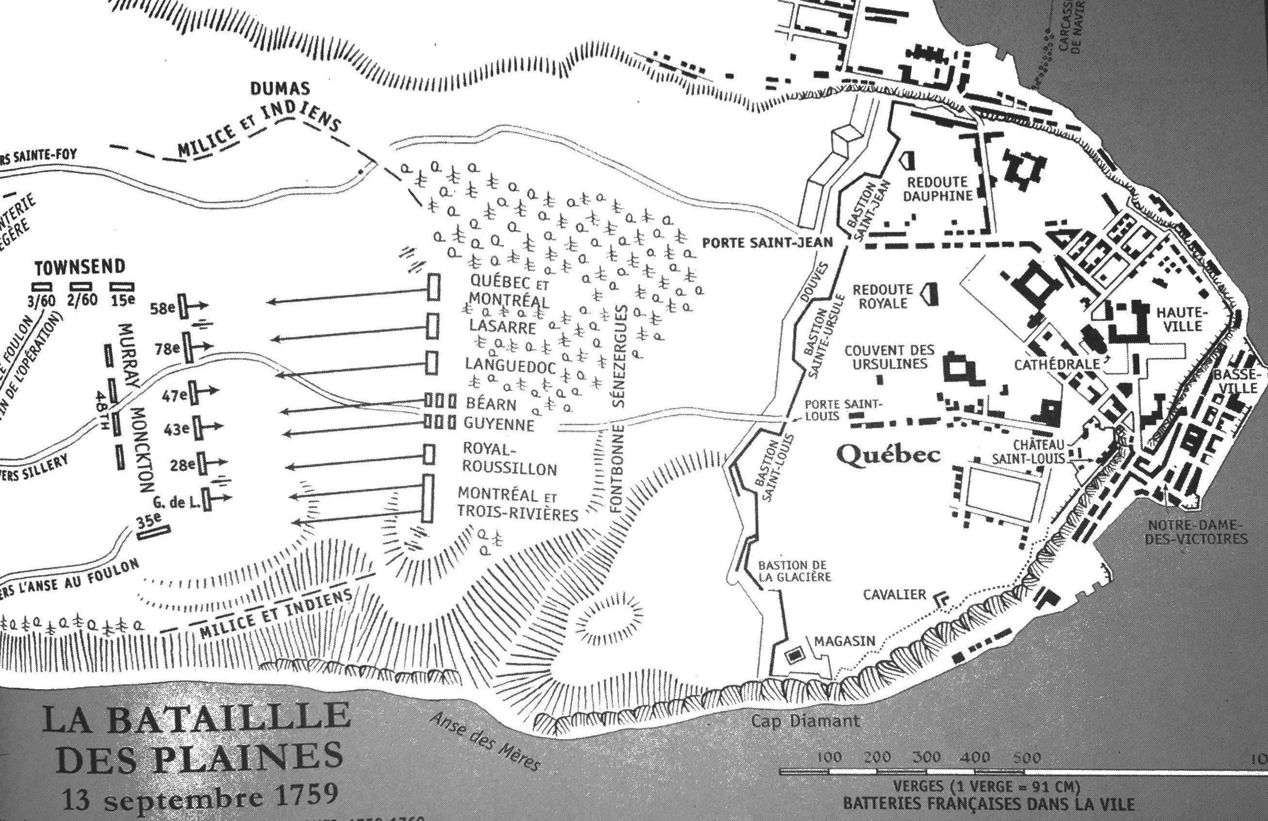 Le champ de bataille des plaines d'Abraham au matin du 13 septembre 1759. Selon les historiens, les forces en présence sont à peu près équivalentes. Les combats débutent vers 10h; après 30 minutes, le front franco-canadien cède sous la poussée des régiments anglo-écossais.